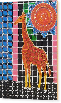 Wood Print featuring the painting Giraffe In The Bathroom - Art By Dora Hathazi Mendes by Dora Hathazi Mendes