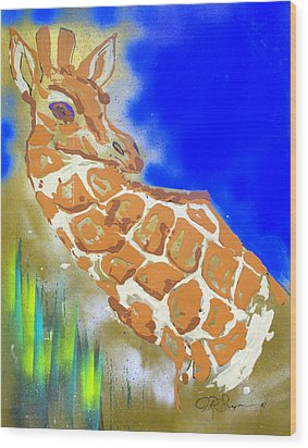 Wood Print featuring the painting Giraffe by J R Seymour