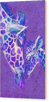 Giraffe Love 515 Wood Print by Jane Schnetlage