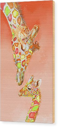 Giraffe Love- Orange Wood Print