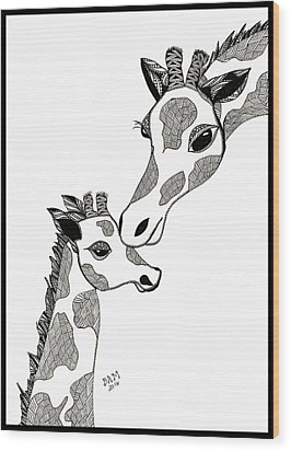Giraffe Mom And Baby Wood Print