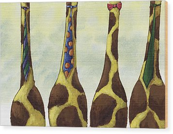 Giraffe Neckties Wood Print by Christy Beckwith