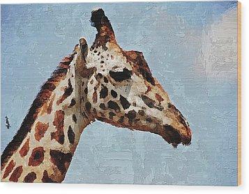 Wood Print featuring the digital art Giraffe Safari  by PixBreak Art