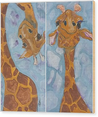 Giraffe Set Wood Print
