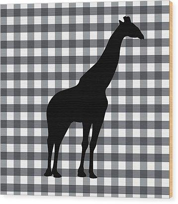 Giraffe Silhouette Wood Print by Linda Woods