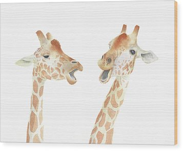 Giraffe Watercolor Wood Print by Taylan Apukovska