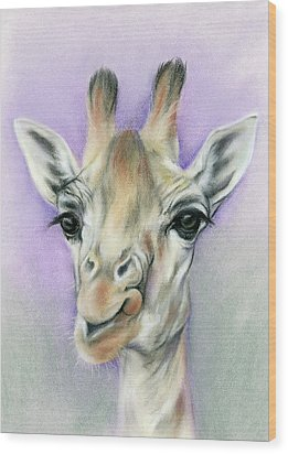 Giraffe With Beautiful Eyes Wood Print by MM Anderson