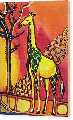 Giraffe With Fire  Wood Print by Dora Hathazi Mendes