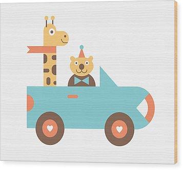 Animal Car Pool Wood Print by Mitch Frey