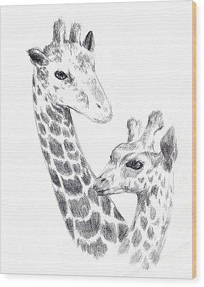 Giraffes Wood Print
