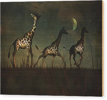 Giraffes Fleeing Wood Print