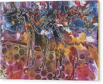 Wood Print featuring the painting Giraffes by Sima Amid Wewetzer
