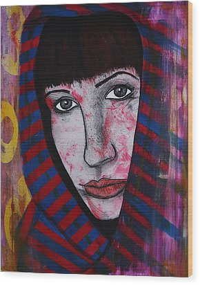Wood Print featuring the painting Girl 11 by Josean Rivera