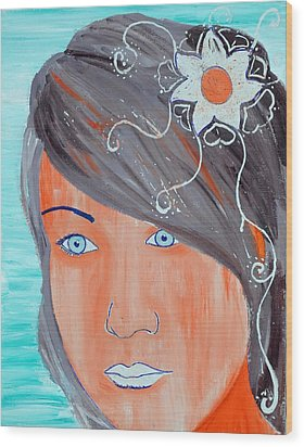 Wood Print featuring the painting Girl 12 by Josean Rivera