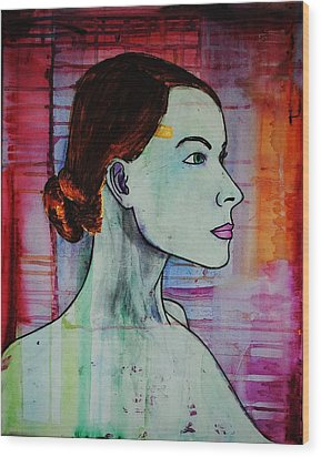 Wood Print featuring the painting Girl 15 by Josean Rivera