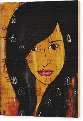 Wood Print featuring the painting Girl 3 by Josean Rivera
