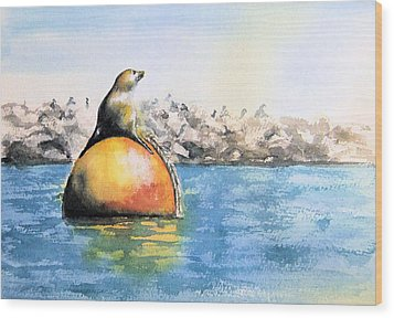 Girl And Buoy Wood Print by Debbie Lewis