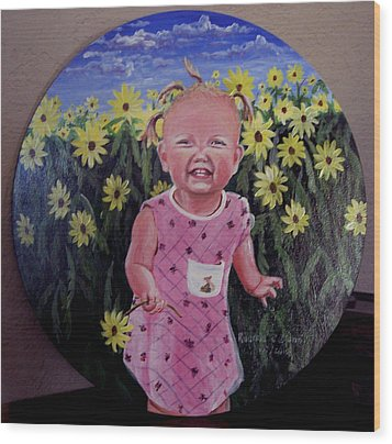 Girl And Daisies Wood Print