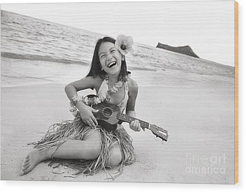 Girl And Her Ukulele Wood Print by Brandon Tabiolo - Printscapes