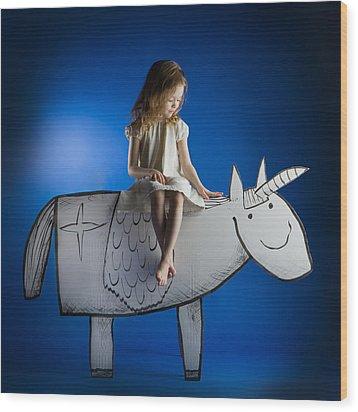 Girl And Her Unicorn Wood Print by Eva Miliuniene