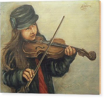 Girl And Her Violin Wood Print