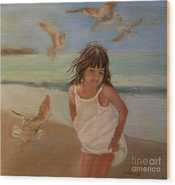 Girl And The Seagulls Wood Print by Ceci Watson