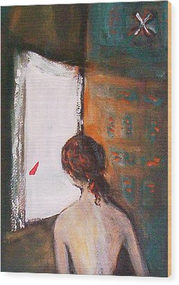 Wood Print featuring the painting Girl At The Window by Winsome Gunning