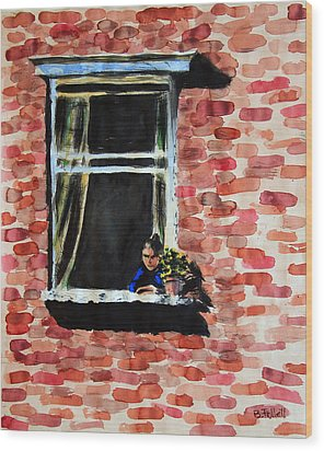 Girl At Window Wood Print