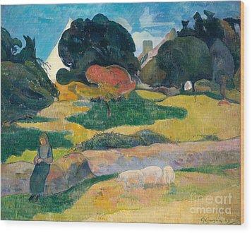 Girl Herding Pigs Wood Print by Paul Gauguin