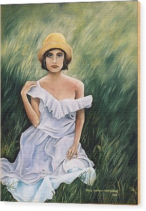 Girl In A Field Of Grass Wood Print by  Gayle  Hartman
