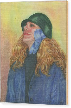 Wood Print featuring the painting Girl In Blue Ribbon by Jeanne Kay Juhos