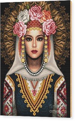 Girl In Bulgarian National Costume Wood Print by Stoyanka Ivanova