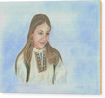 Wood Print featuring the painting Girl In Greek Costume by Jeanne Kay Juhos