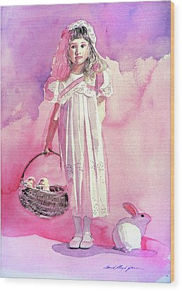 Girl In Pink Wood Print by David Lloyd Glover