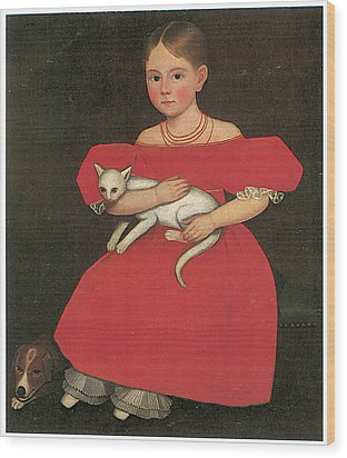 Girl In Red With Her Cat And Dog Wood Print by Ammi Phillips