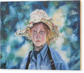 Girl In Straw Hat Wood Print by Richard Barone
