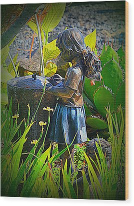 Wood Print featuring the photograph Girl In The Garden by Lori Seaman