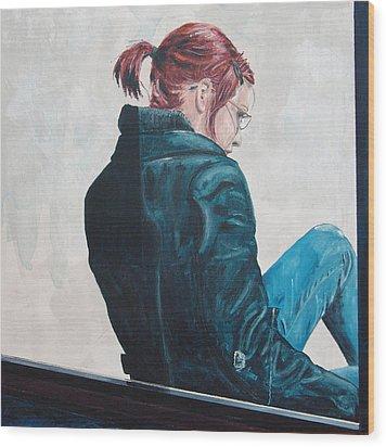 Girl In The Window-sfai Wood Print