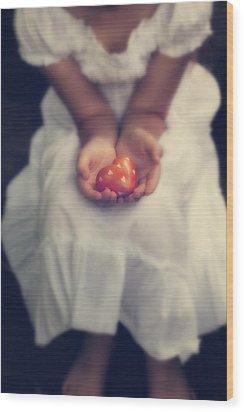 Girl Is Holding A Heart Wood Print by Joana Kruse