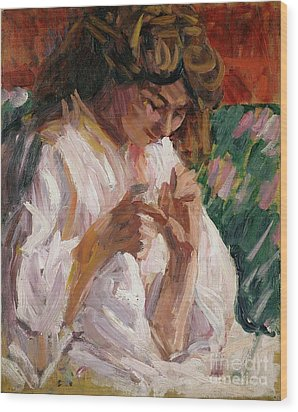 Girl Mending Wood Print by Roderic OConor