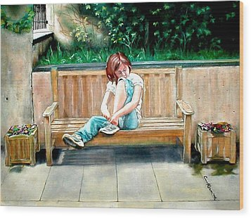 Girl On A Bench Wood Print