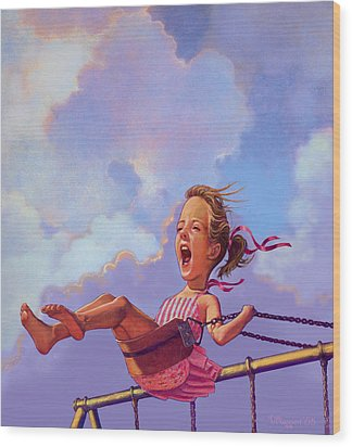 Girl On A Swing Wood Print by Valer Ian