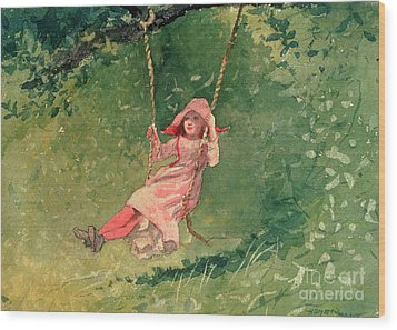 Girl On A Swing Wood Print by Winslow Homer