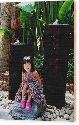 Girl On Rocks Wood Print