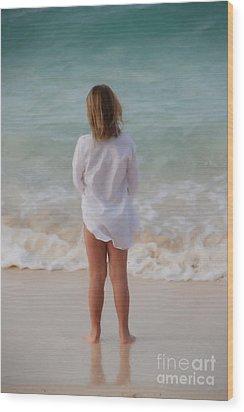Girl On The Beach Wood Print by Jan Daniels