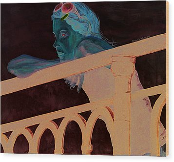 Wood Print featuring the painting Girl On The Rail by Kevin Callahan