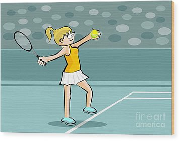 Girl Playing Tennis Ready To Do A Serve Wood Print