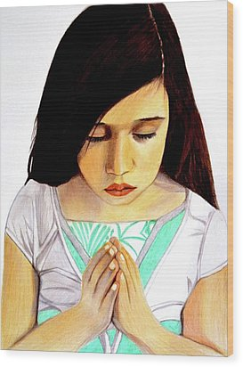 Girl Praying Drawing Portrait By Saribelle Wood Print by Saribelle Rodriguez