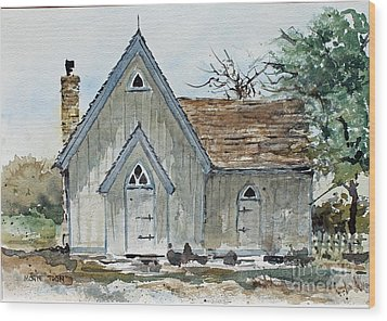 Girl Scout Little House Wood Print by Monte Toon