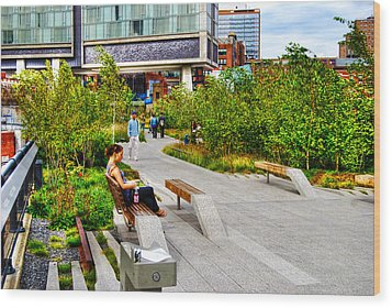 Girl Uninterrupted On The High Line Wood Print by Randy Aveille